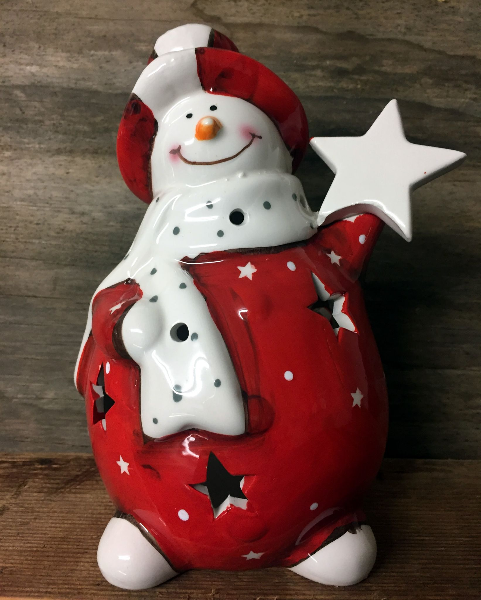 Large Fat Snowman Ceramic Tea Light Holder With Star