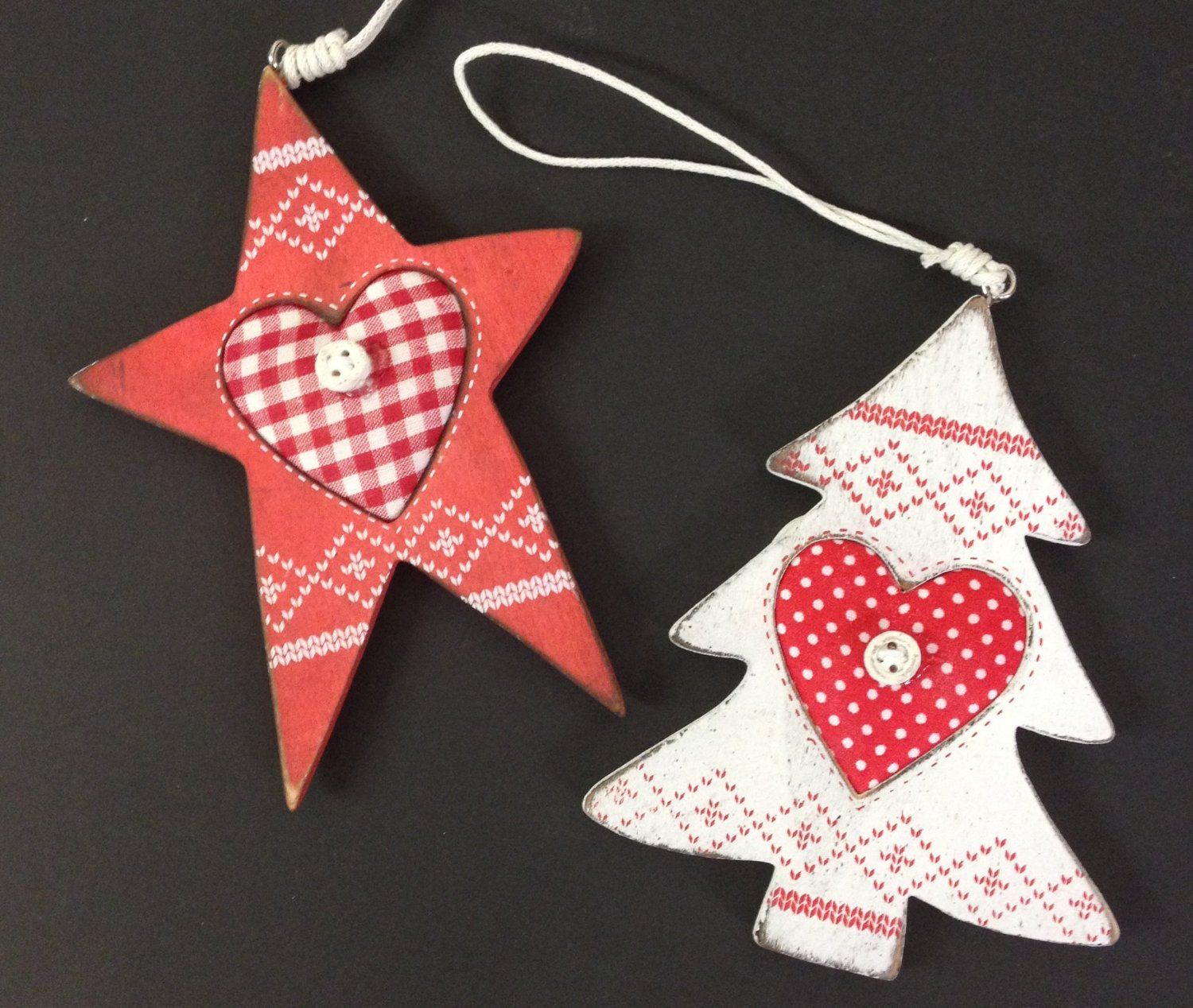 Nordic Wooden Christmas Tree Ornaments  Red Star & White Tree