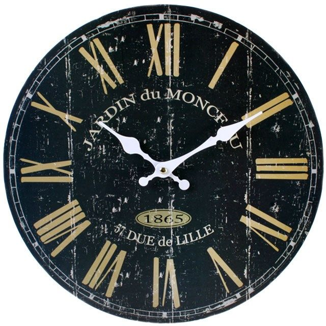 34 cm Dark French Large Roman Dial Wooden Wall Clock