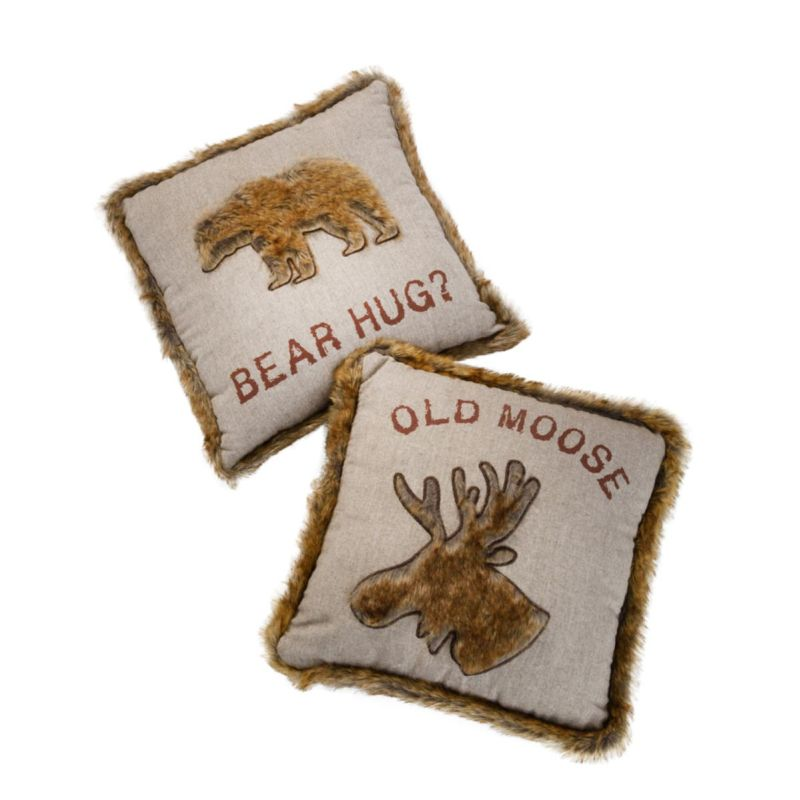 Bear Hug | Old Moose 45cm Cushion with Faux Fur Trim