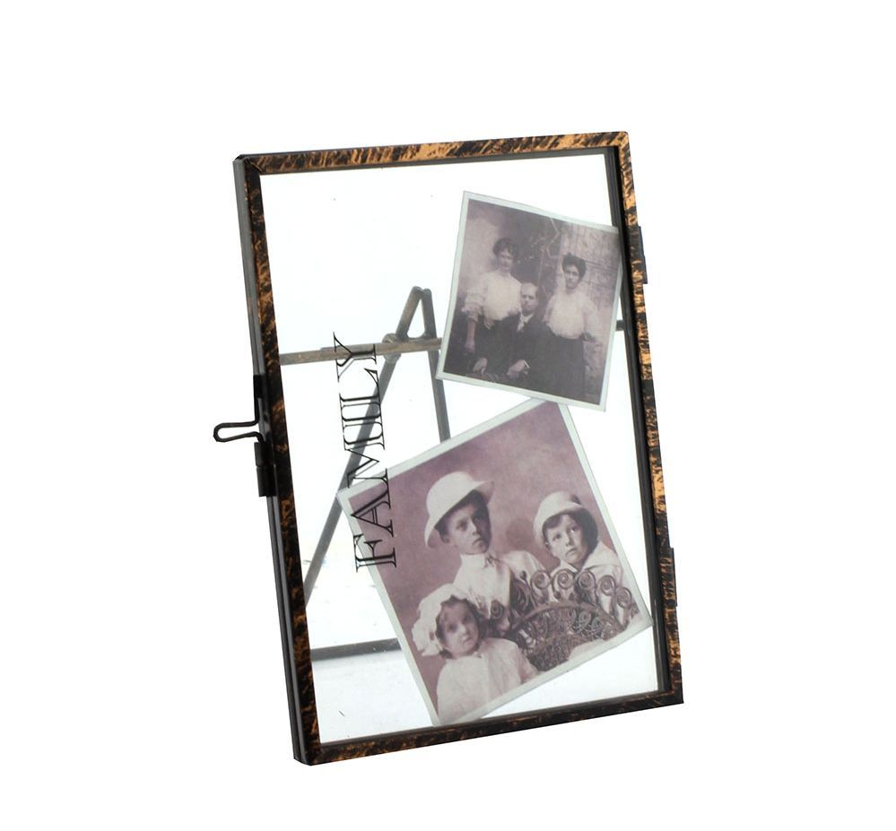 "Family ~ 6 X 4"" Vintage Black Metal and Glass Photo Clip Frame"