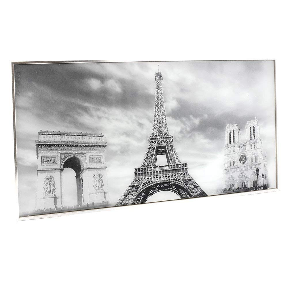 Framed Paris Eiffel Tower Scene Glass Glitter Wall Art