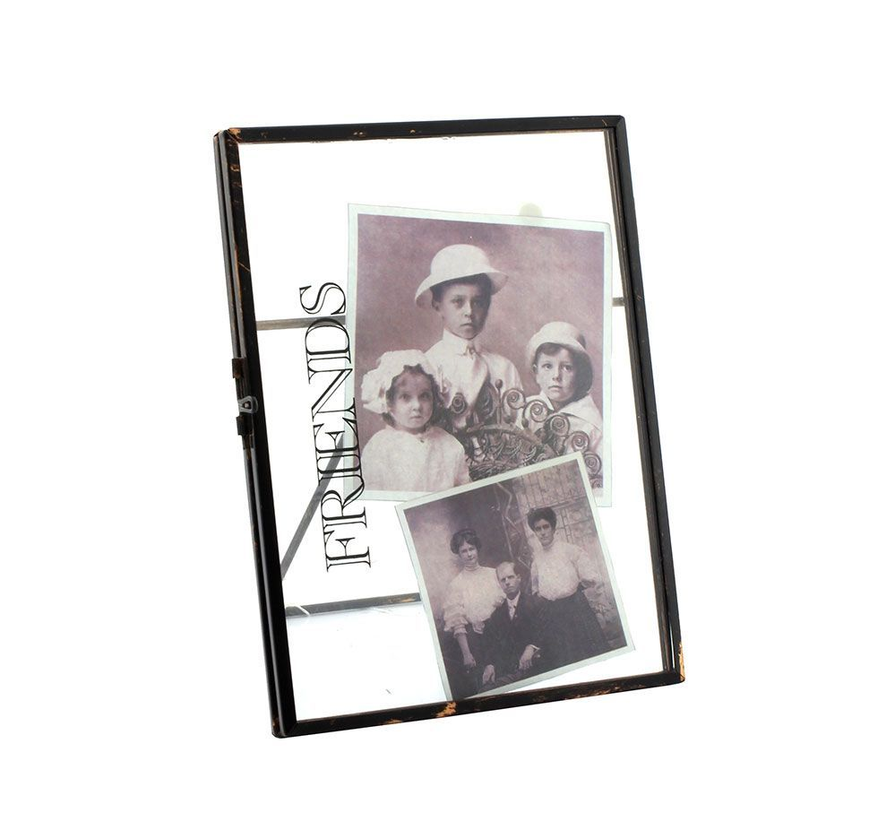 "Friends ~ 6 X 4"" Vintage Black Metal and Glass Photo Clip Frame"