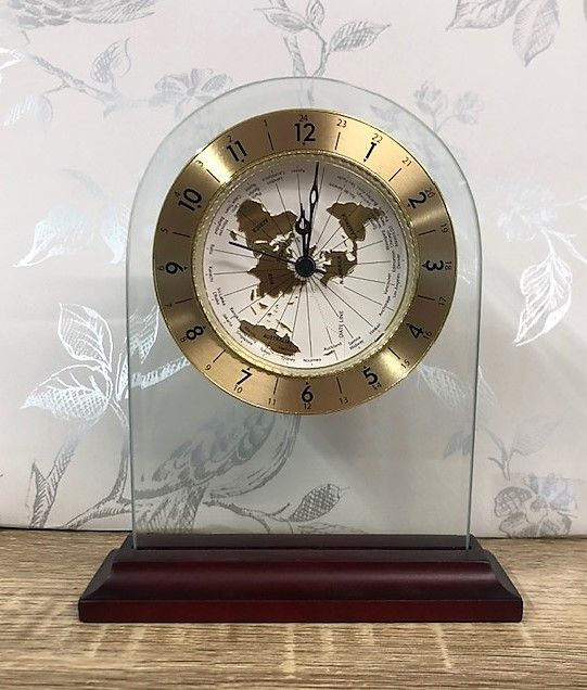 Glass Modern Arched Shaped Mantel Clock with World Dial