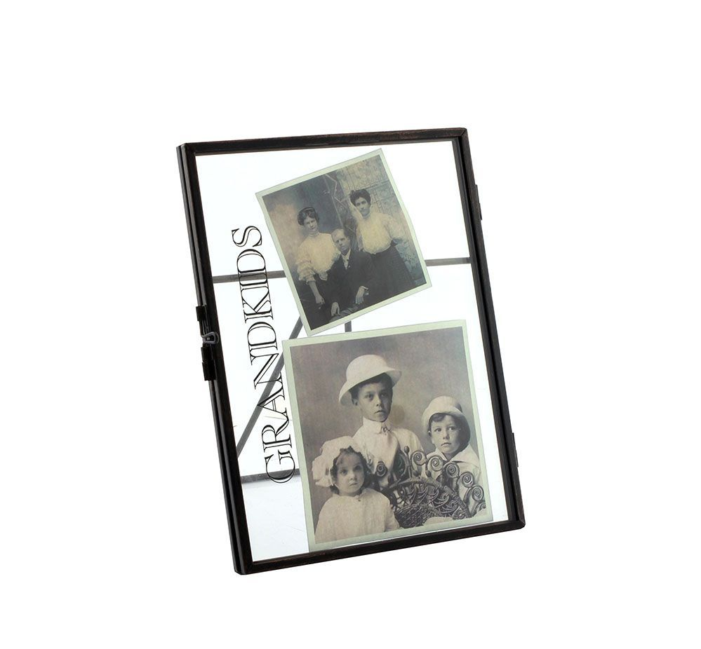 Grandkids 6 X 4 Vintage Black Metal and Glass Photo Clip Frame