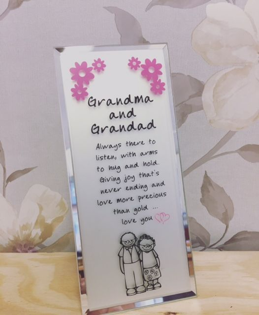 Grandma and Grandad Love You Glass Message Plaque - Freestanding