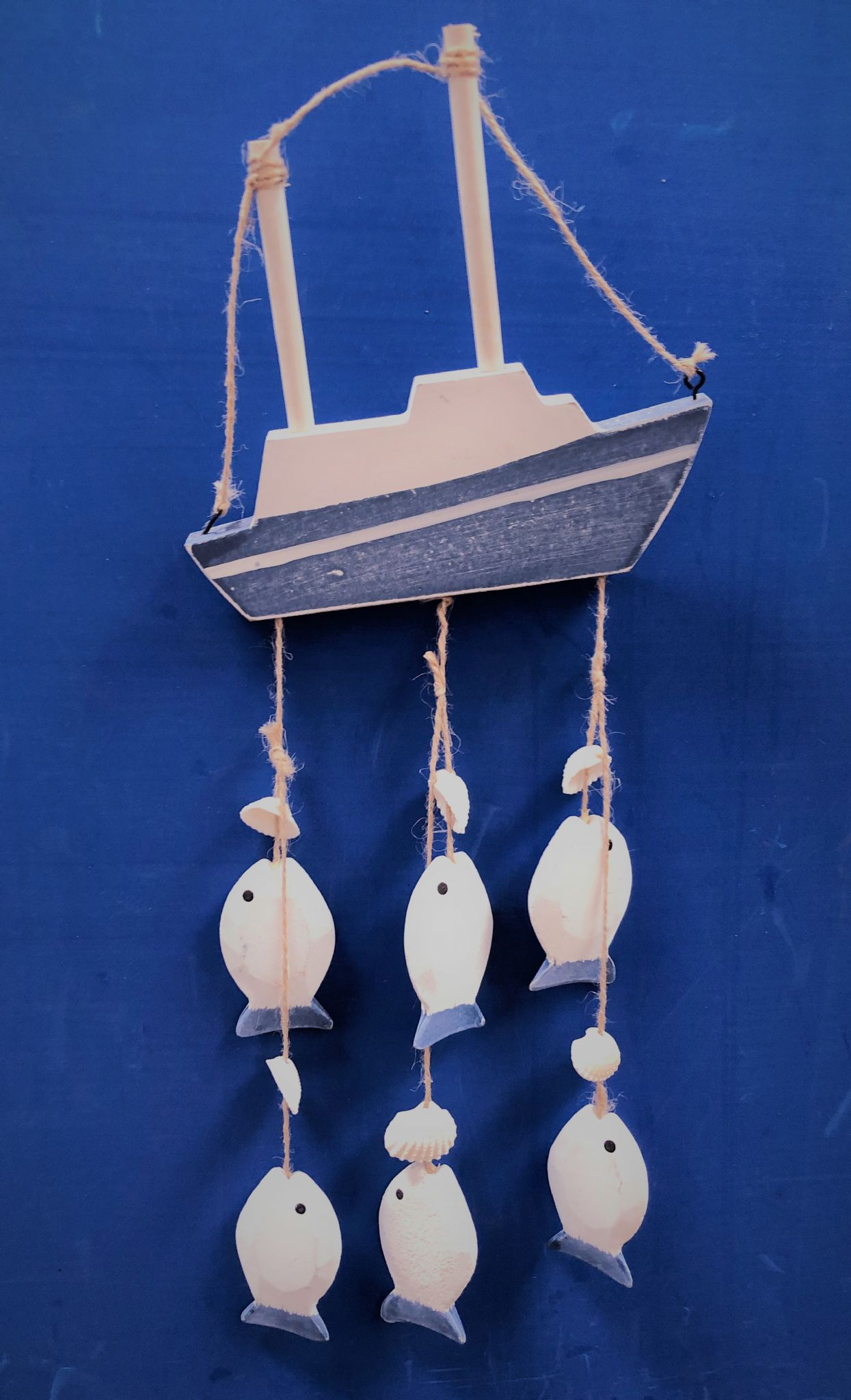 Hanging Wooden Boat Fish Mobile Nautical Wall Decor
