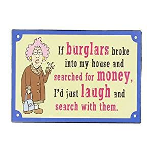 If Burglars ...Aunty Acid Funny Metal Plaque