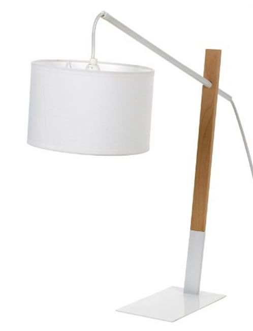 Large Modern White Wood & Metal Contemporary Table Desk Lamp
