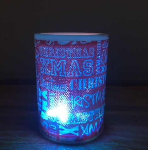LED Battery Operated Colour Changing Christmas Candle ~ Merry Christmas / Xmas (G)