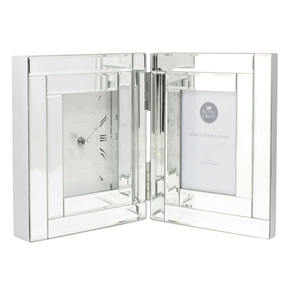 Leonardo Large Glass Mirror Clock with Photo Frame