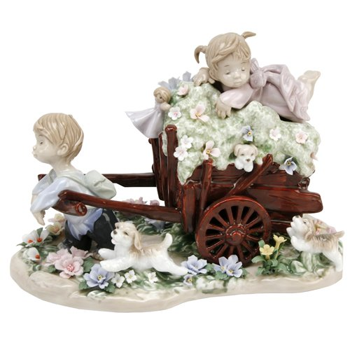 Little Brother Pulls Sister On Cart Decorative Ornament
