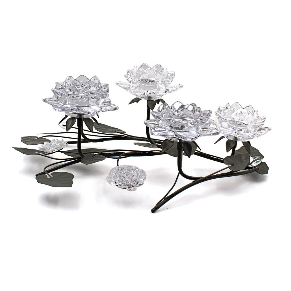 Lotus 5 Piece Glass & Metal Tea Light Holder Table Centrepiece