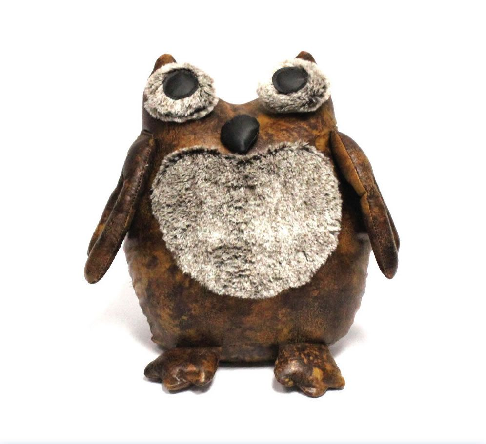 Luxury Faux Brown Leather Owl Doorstop