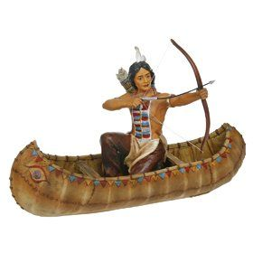 Mahican Indian Tribesman In Canoe Ornament