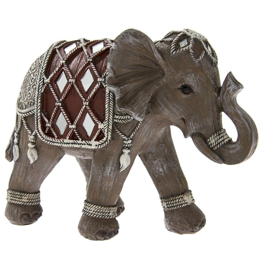 Mirrored Wood Effect Artistic Elephant Ornament
