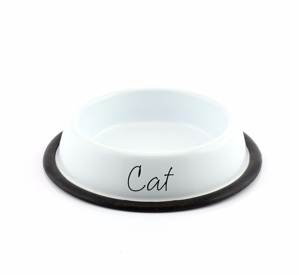 Modern White Metal Cat Bowl