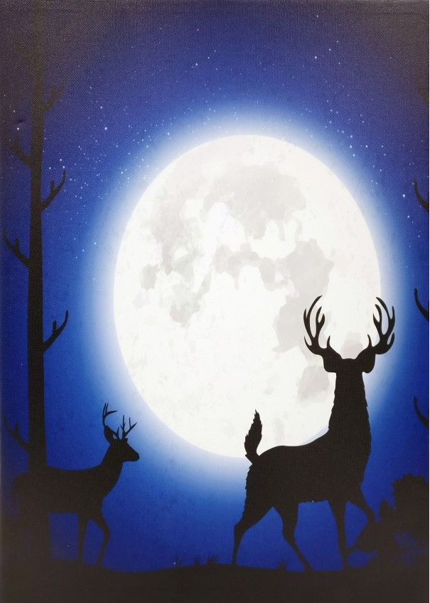 Moonlight Stag Light Up LED Canvas Wall Hanging 40 x 30