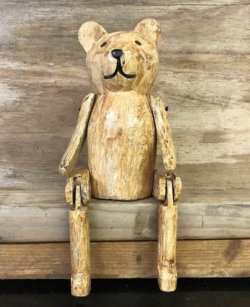 Old Fashioned Teddy Bear Vintage Finish Wooden Puppet ...