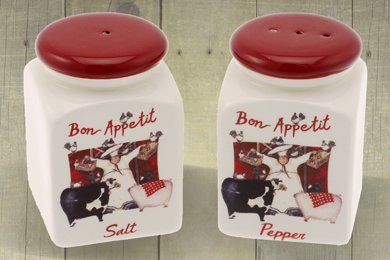 Red & Cream Bon Appetit Salt & Pepper Pot Cruet Set