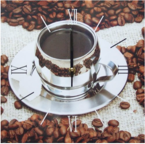 Square Kitchen Dining  Room Wall Clock  - Coffee in Silver Cup