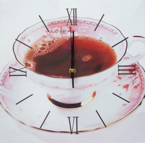 Square Kitchen Dining  Room Wall Clock  - Tea in China Cup