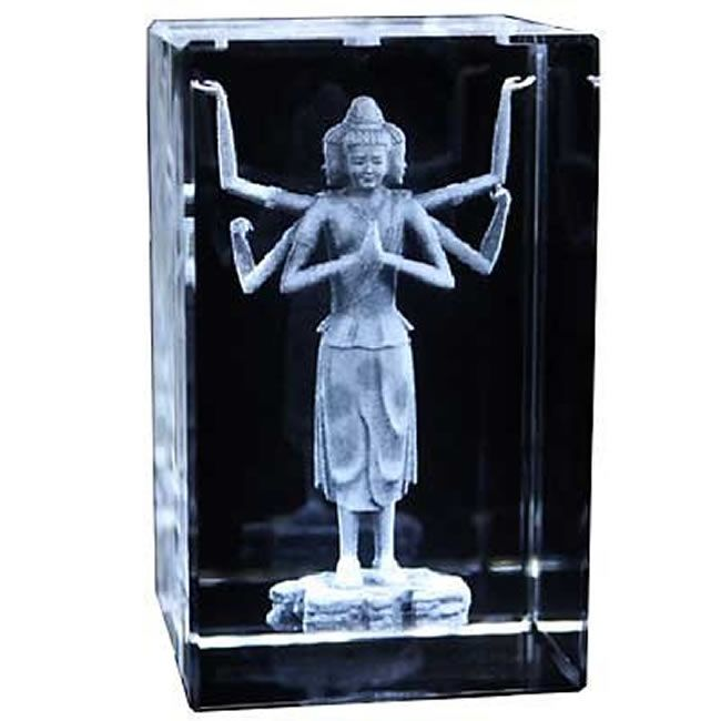 Thousand Arm Buddha Crystal Ornament with Lighting Stand