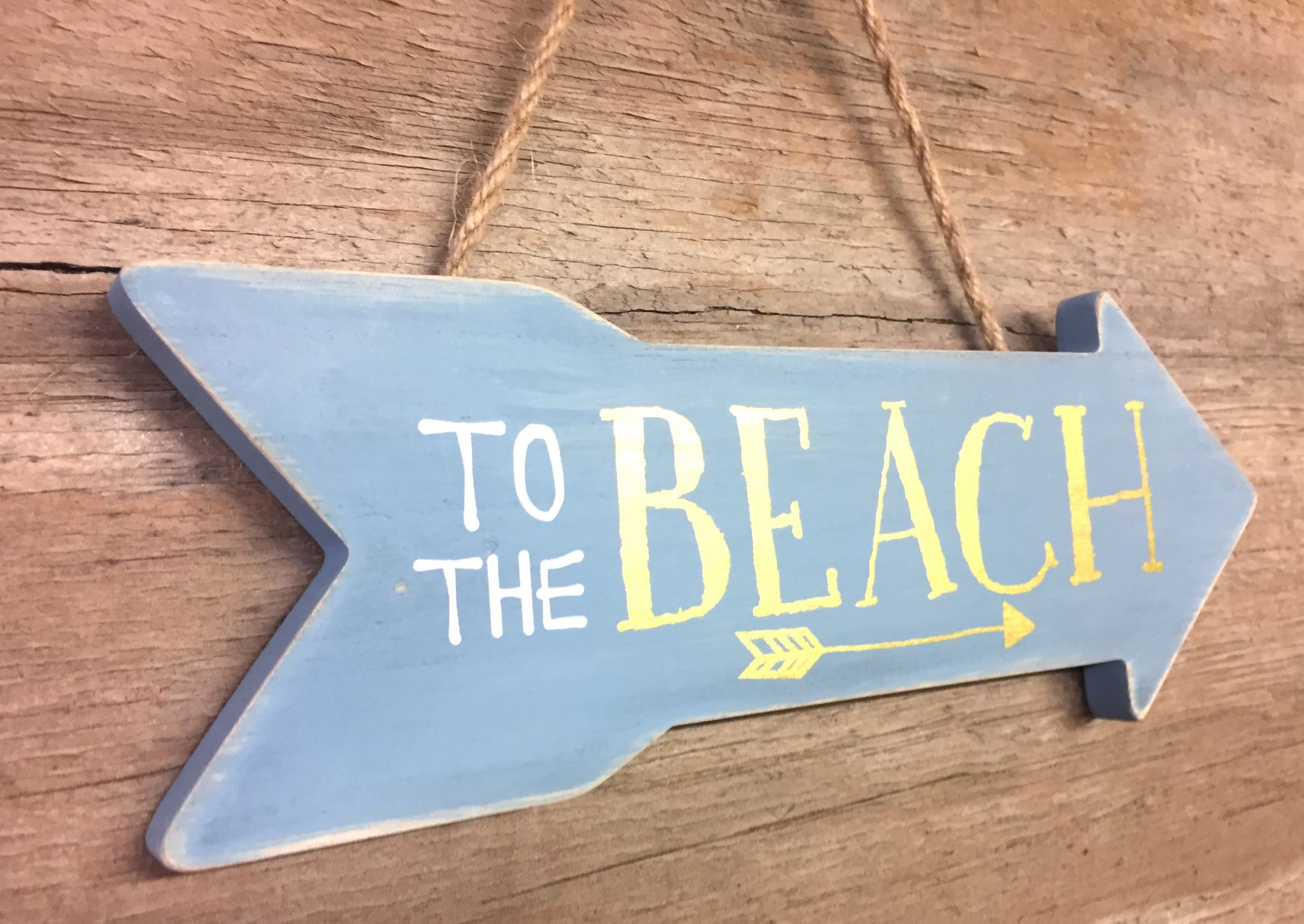 Distressed Hanging Beach Sign with Text