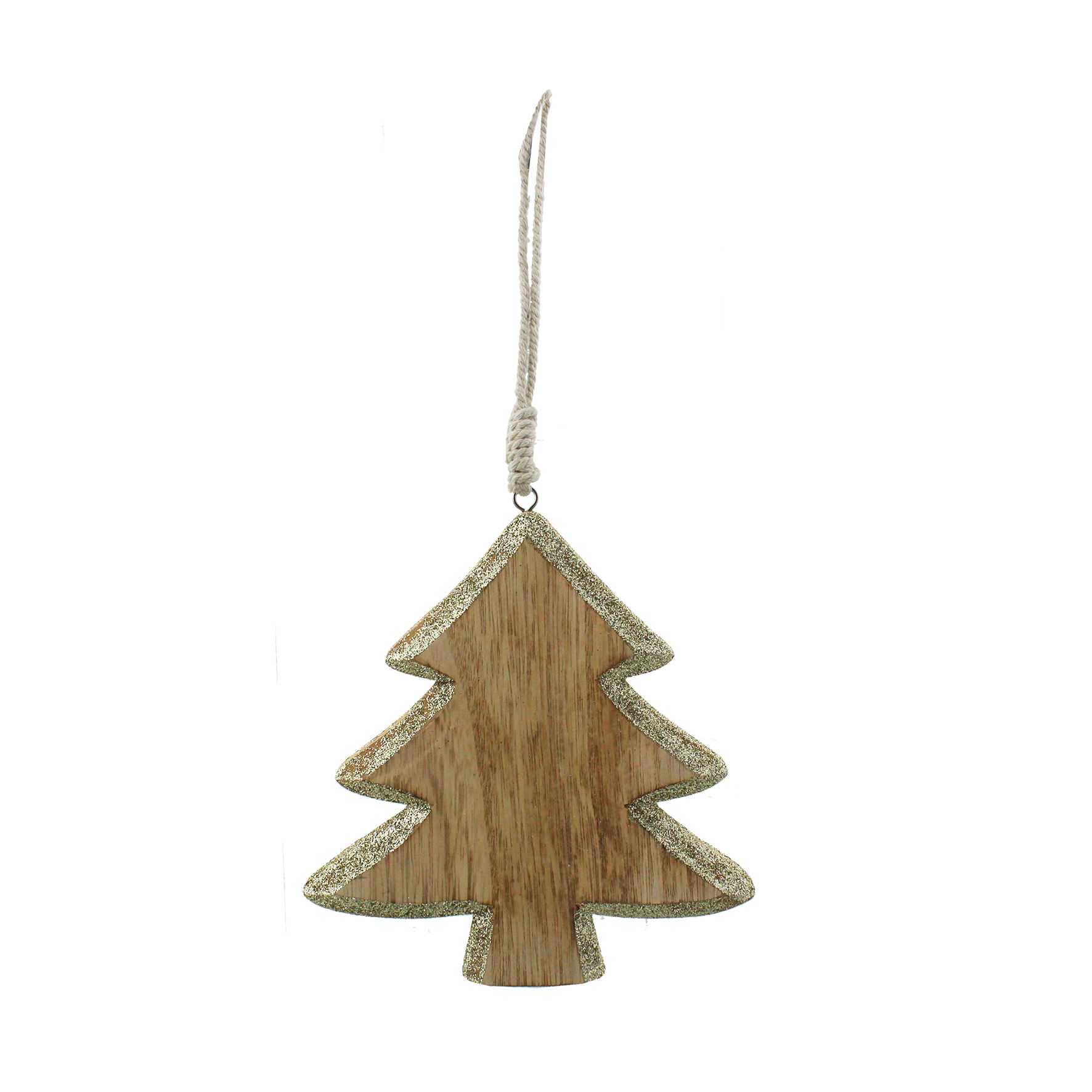 Wood Christmas Decorations.Wooden With Gold Glitter Trim Hanging Christmas Tree Decoration